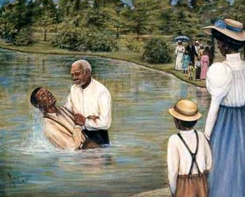 The Prophet lowered Thomas gently into the water