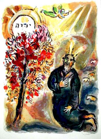 Moses before the burning bush