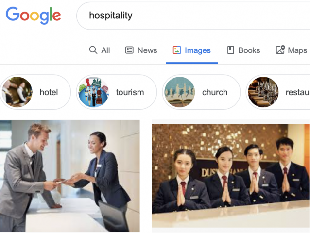 Why don't you see the church when you google Hospitality?