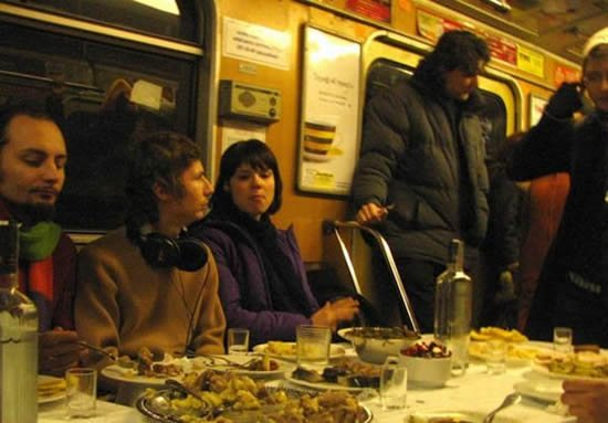 Funeral dinner on subway for Dr. Pirogov