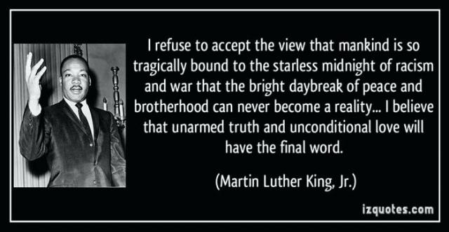 There is optimism in everything King said, because he believed in the moral arc bending to Justice