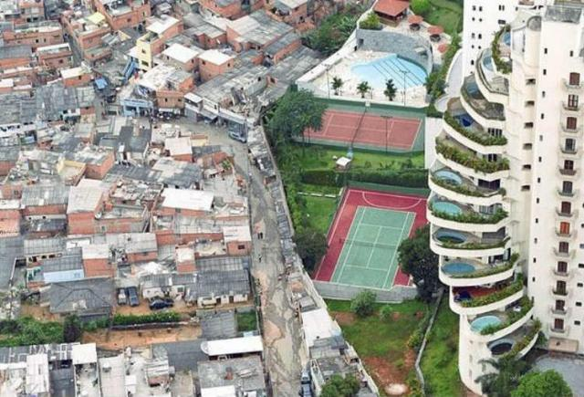 A thin wall separates wealth and poverty